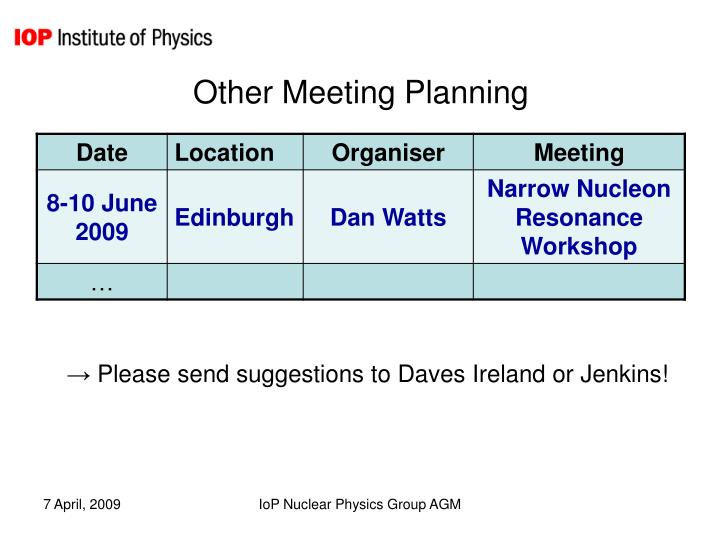 Other Meeting Planning