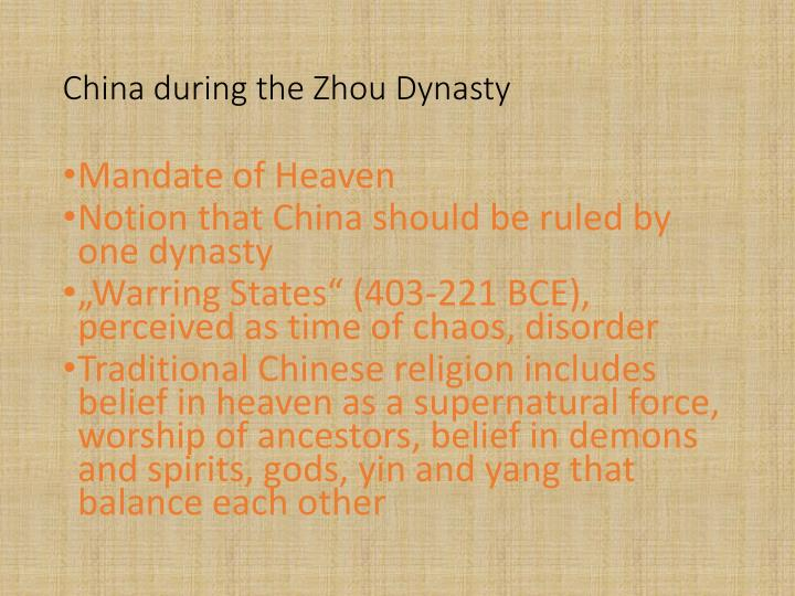 China during the Zhou Dynasty