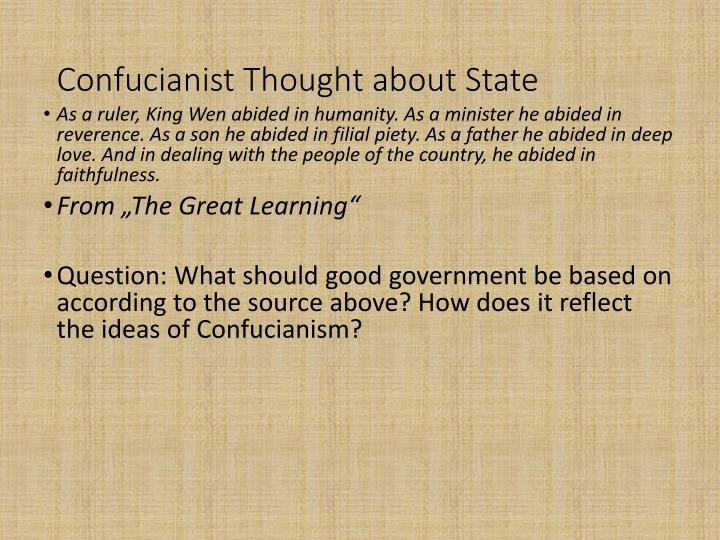 Confucianist Thought about State