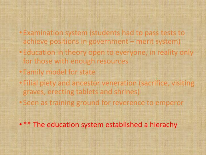 Examination system (students had to pass tests to achieve positions in government – merit system)
