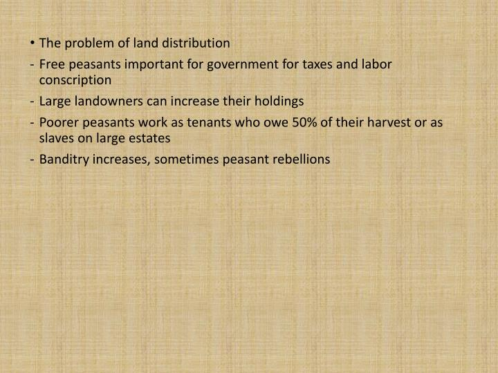 The problem of land distribution
