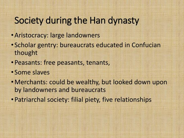 Society during the Han dynasty