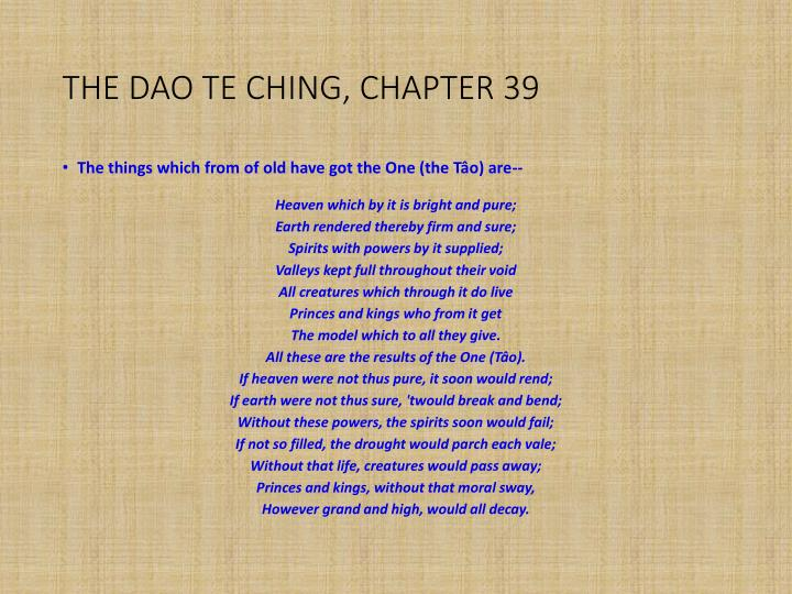 THE DAO TE CHING, CHAPTER 39