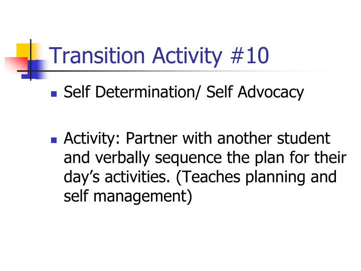 Transition Activity #10