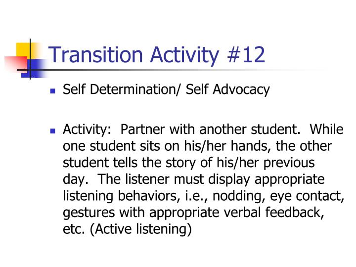 Transition Activity #12