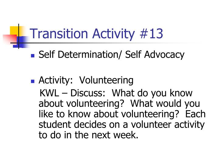 Transition Activity #13