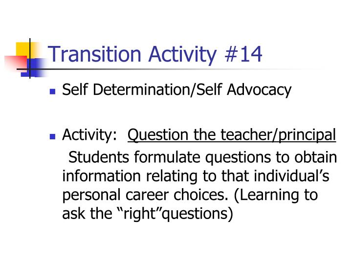Transition Activity #14