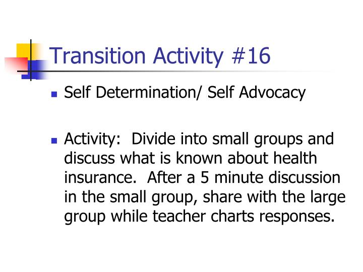 Transition Activity #16