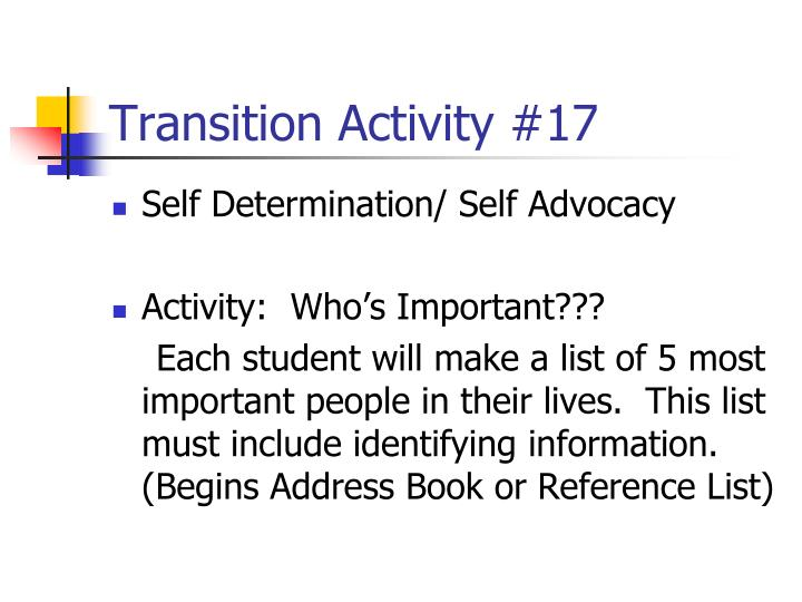Transition Activity #17