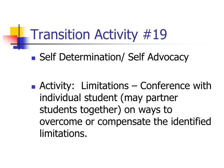 Transition Activity #19