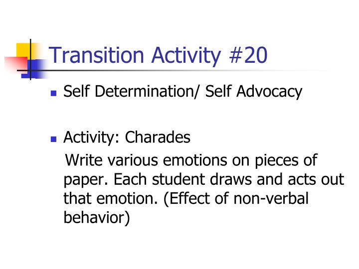 Transition Activity #20
