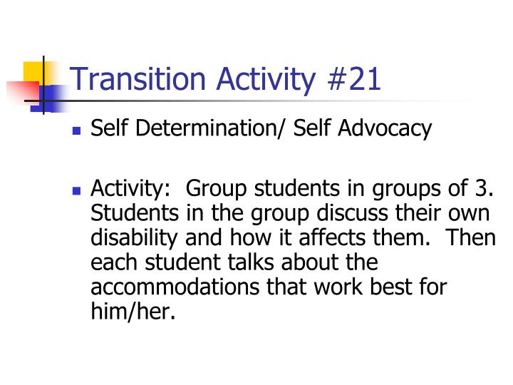 Transition Activity #21