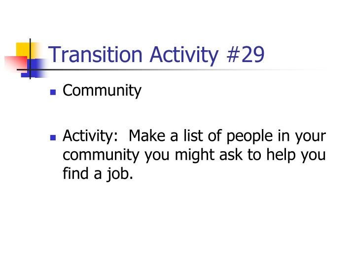 Transition Activity #29