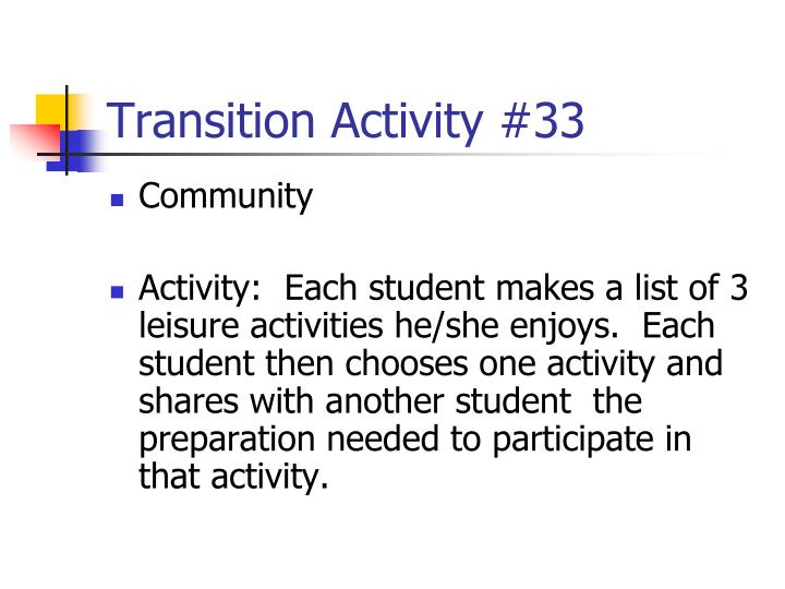 Transition Activity #33