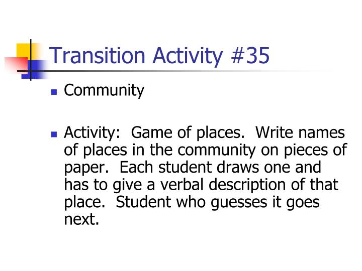 Transition Activity #35