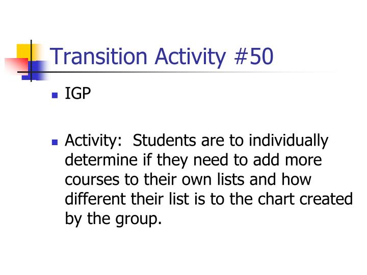 Transition Activity #50