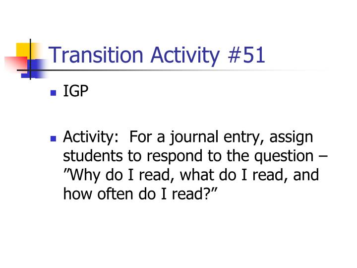 Transition Activity #51