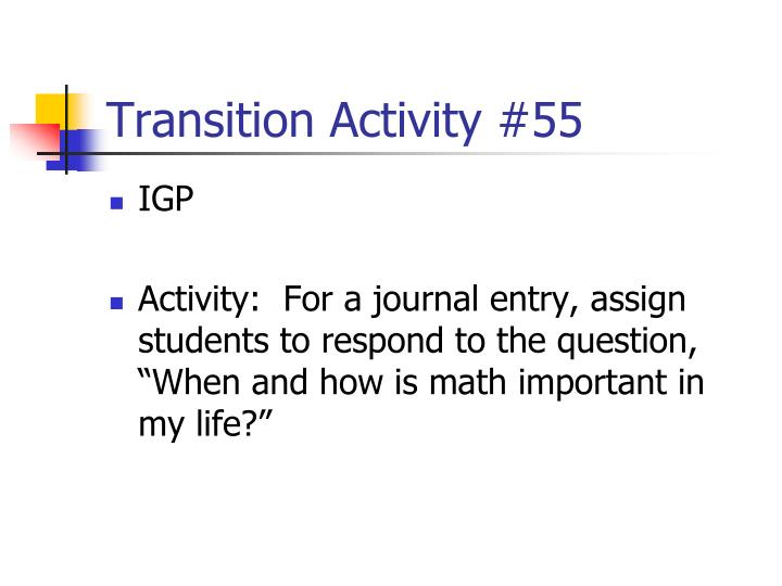 Transition Activity #55