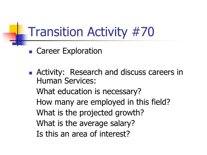 Transition Activity #70