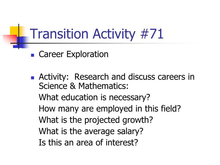 Transition Activity #71