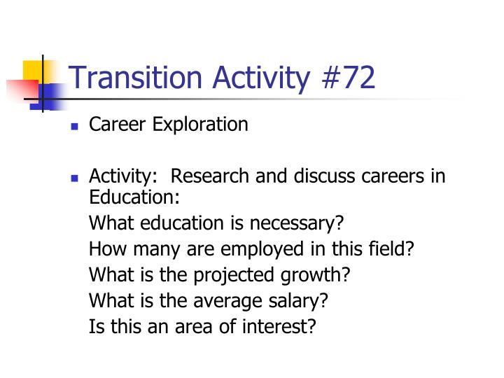 Transition Activity #72