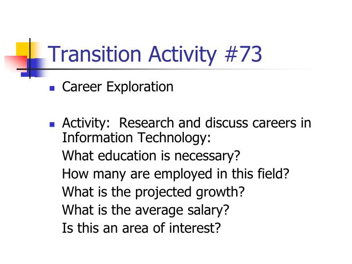 Transition Activity #73
