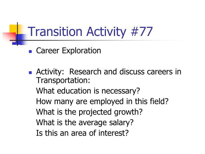 Transition Activity #77