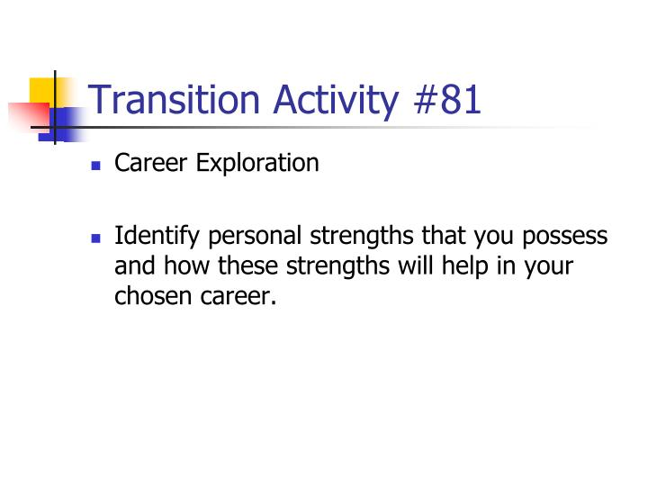 Transition Activity #81