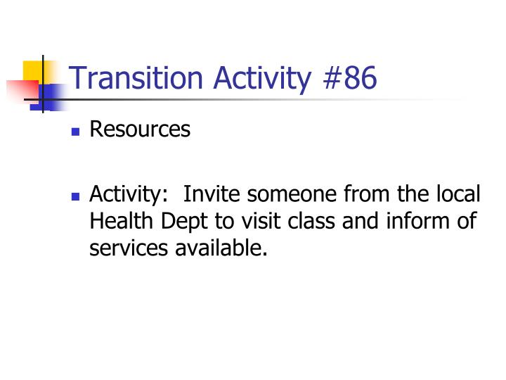 Transition Activity #86