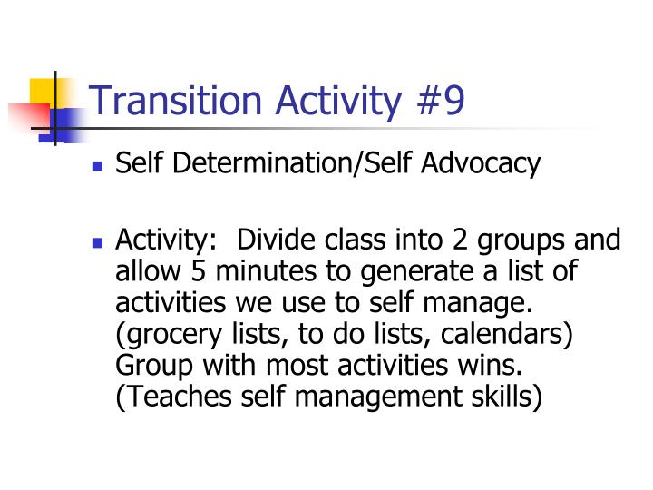 Transition Activity #9
