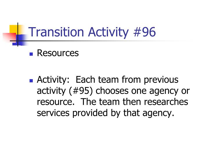 Transition Activity #96