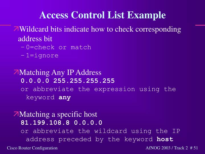 Access Control List Example