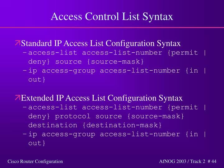 Access Control List Syntax