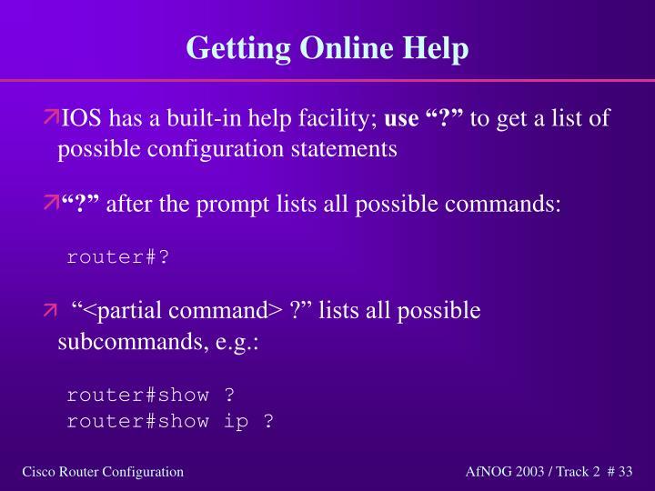 Getting Online Help