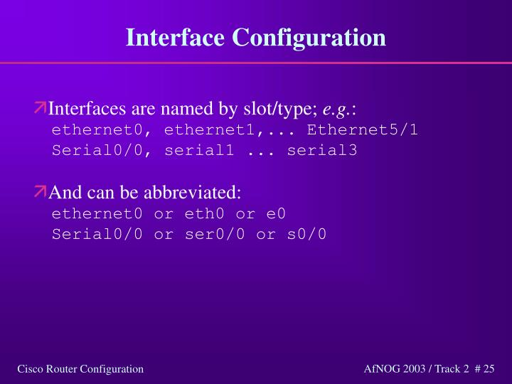 Interface Configuration