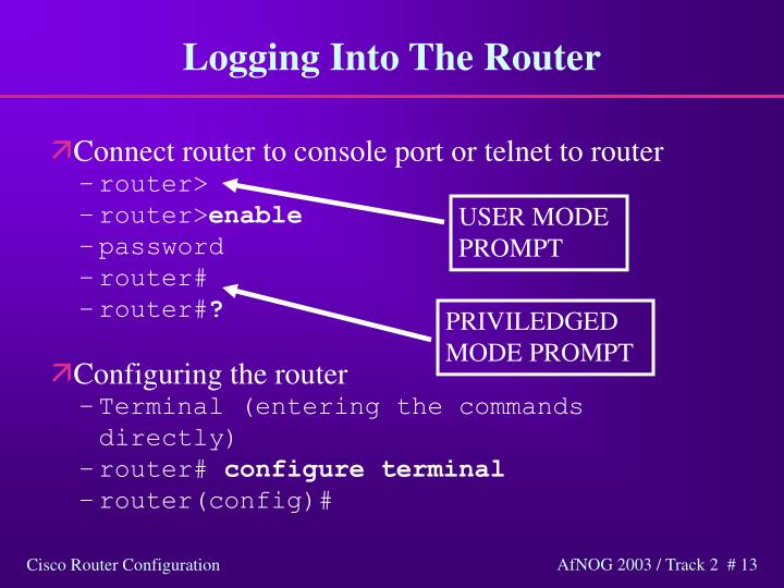 Logging Into The Router