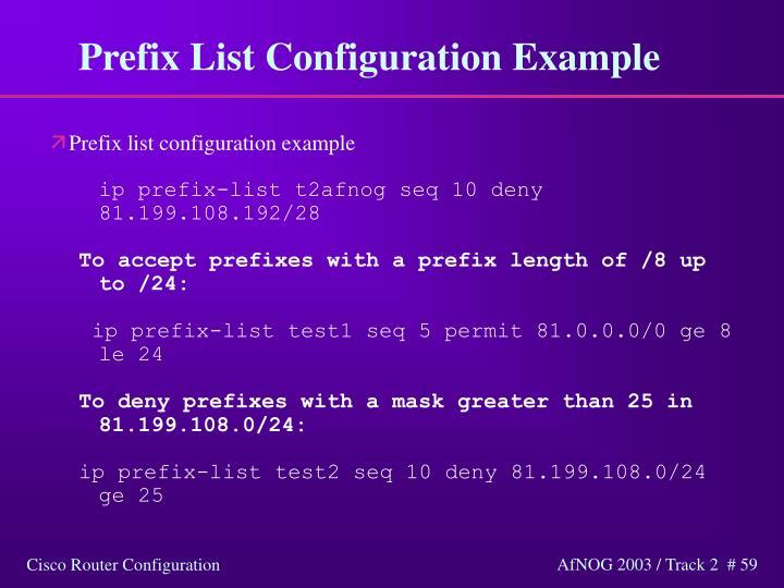 Prefix List Configuration Example