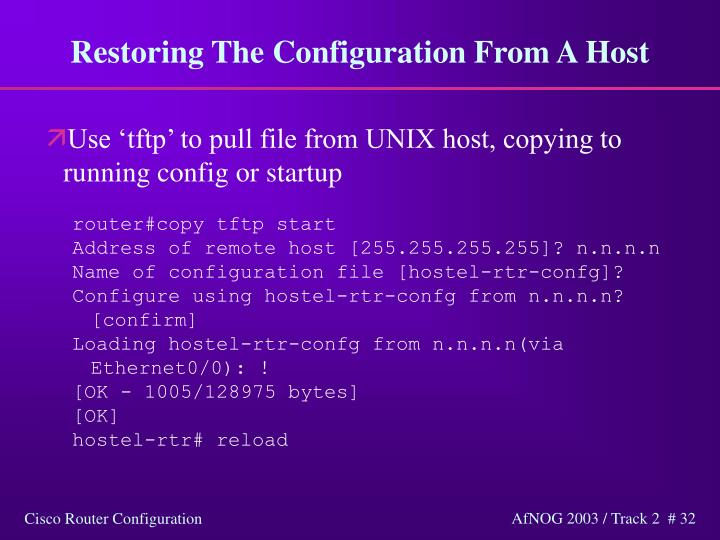 Restoring The Configuration From A Host