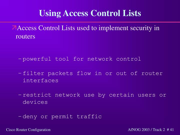 Using Access Control Lists