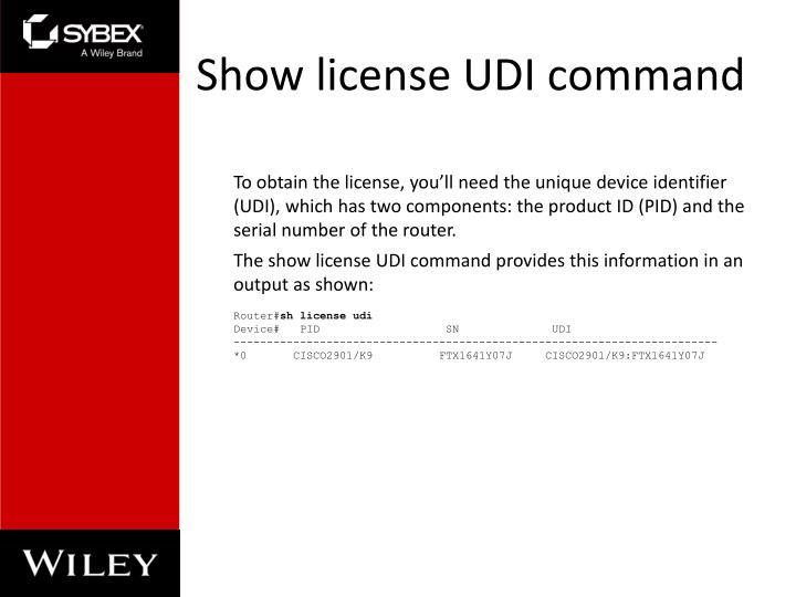 Show license UDI command
