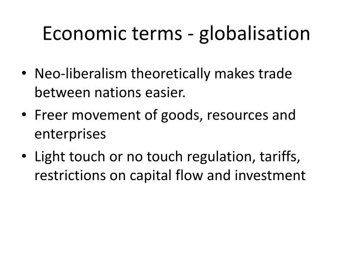 Economic terms - globalisation