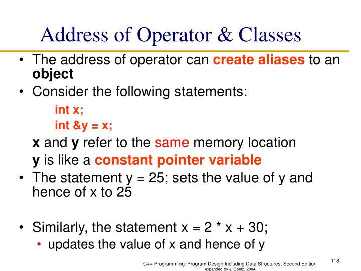 Address of Operator & Classes
