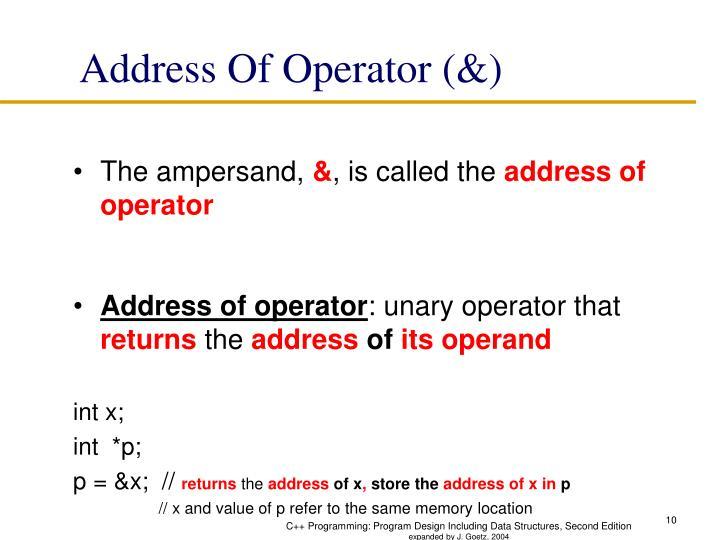 Address Of Operator (&)