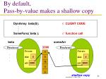 by default pass by value makes a shallow copy