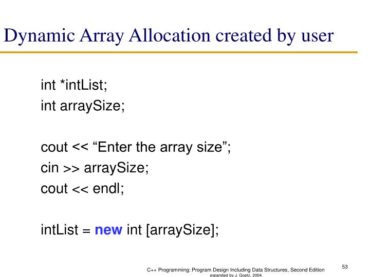 Dynamic Array Allocation created by user