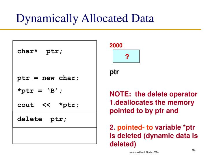 Dynamically Allocated Data