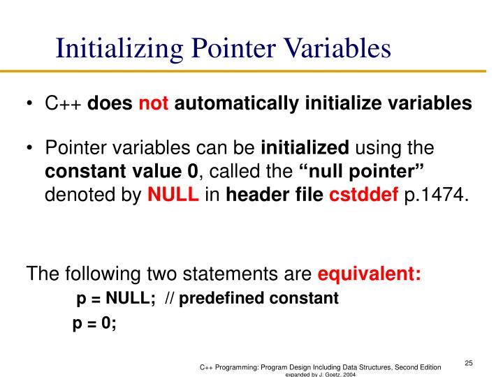 Initializing Pointer Variables