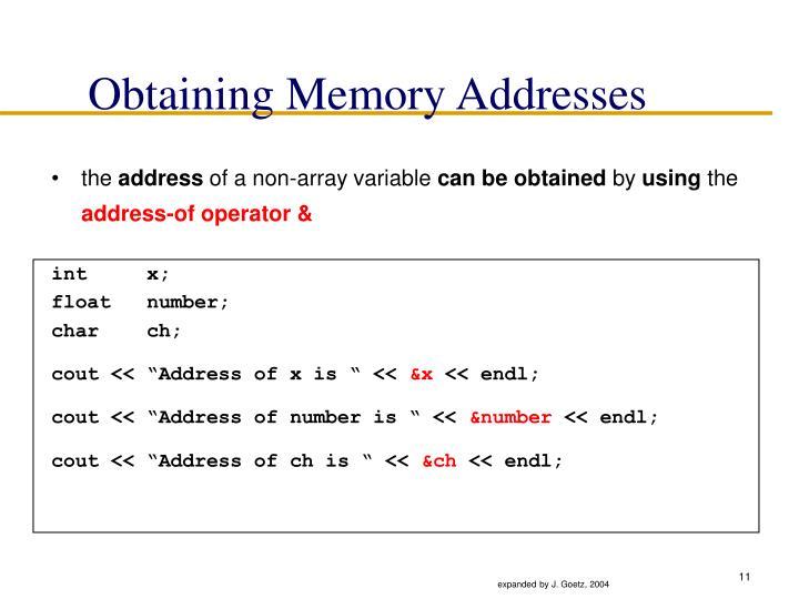 Obtaining Memory Addresses