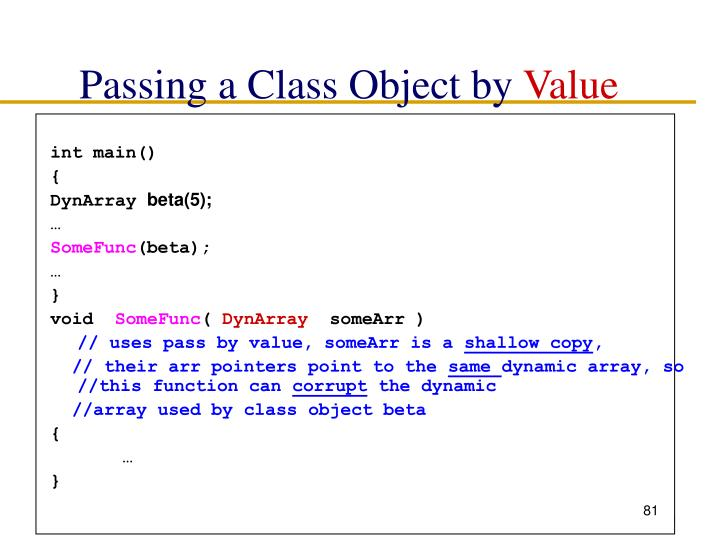 Passing a Class Object by