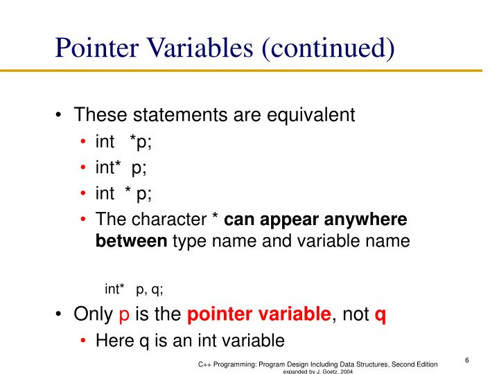 Pointer Variables (continued)